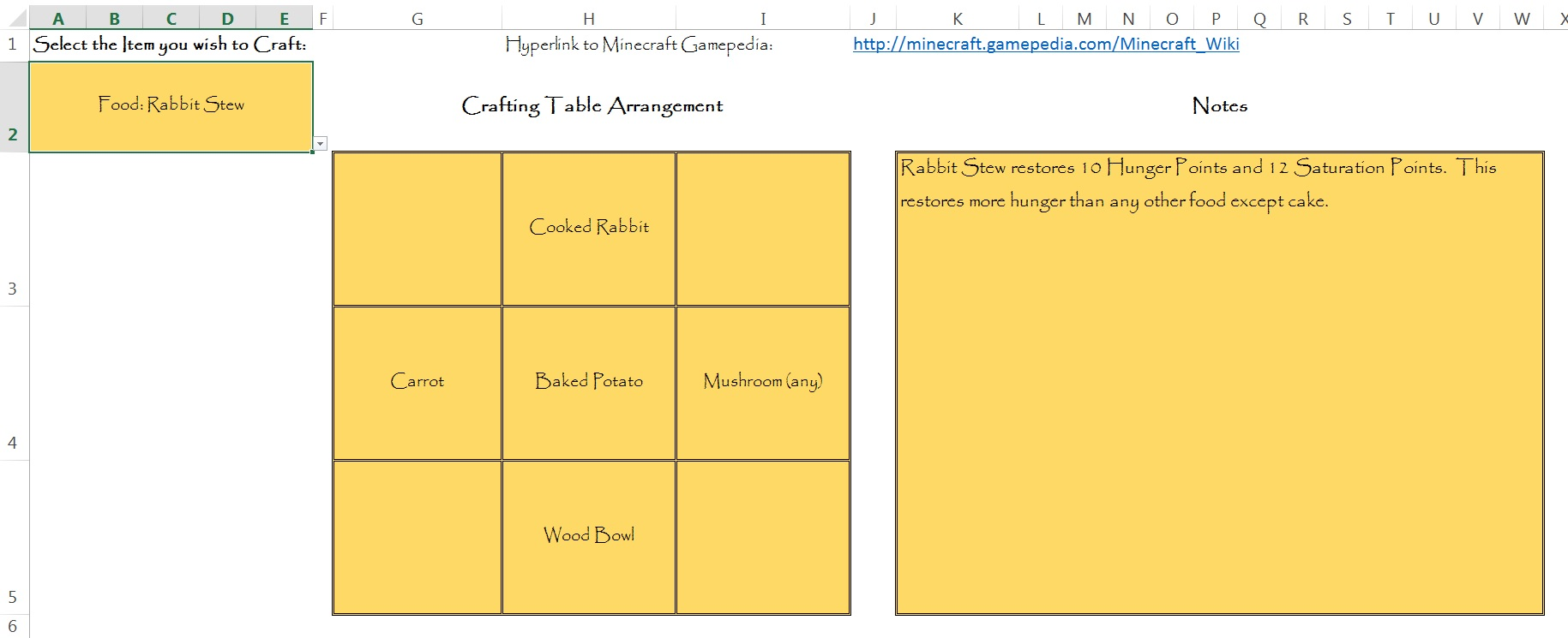 MS Excel Minecraft Crafting Guide - Discussion - Minecraft: Java