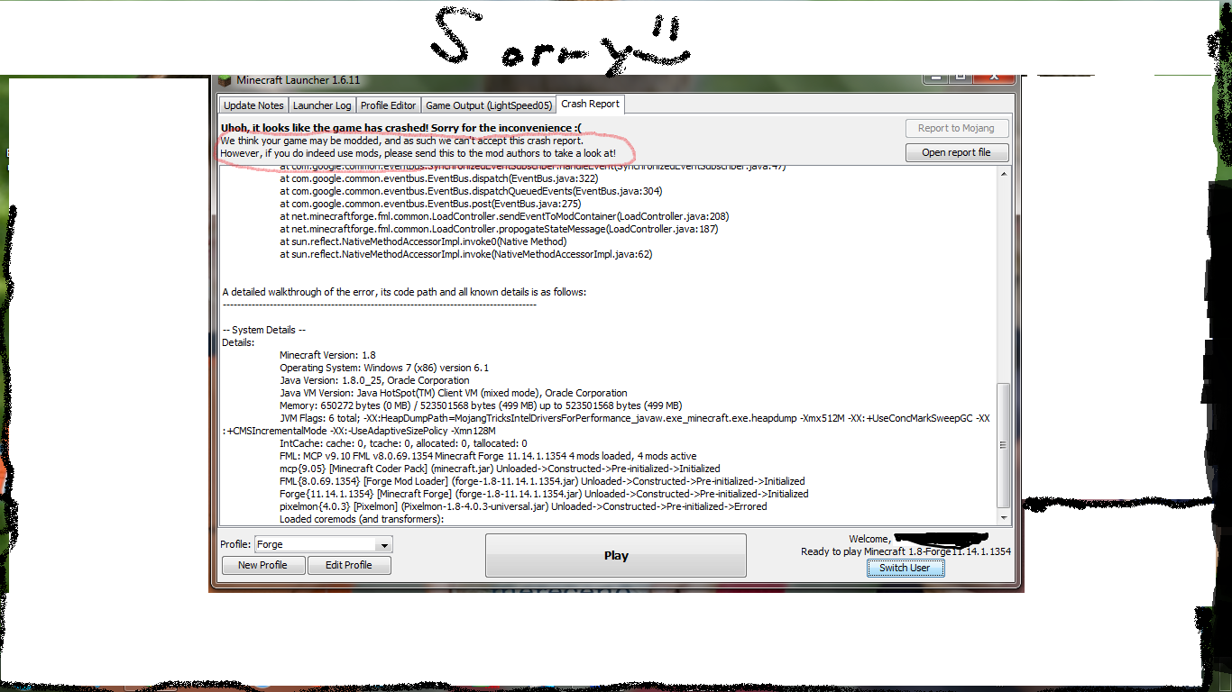 my minecraft crashed! help! - Java Edition Support - Support