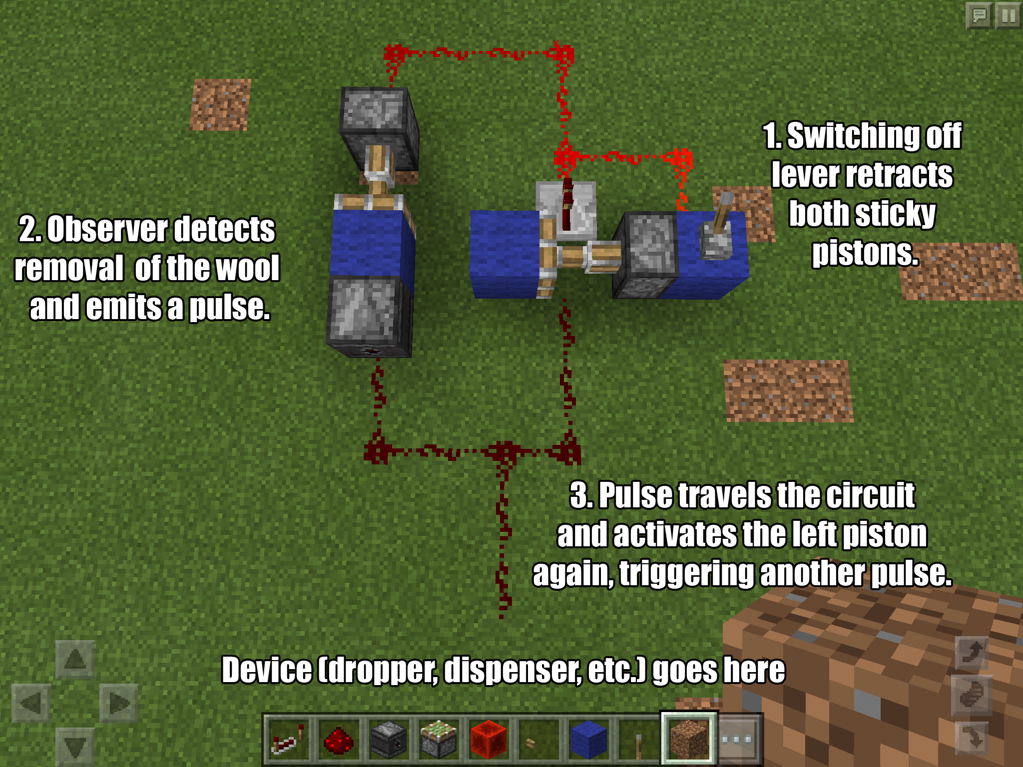 Lever-togglable redstone pulse clock powered by Observer block (no