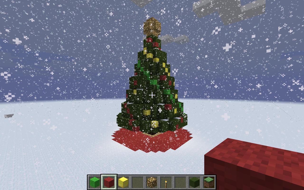Minecraft Christmas Tree.Merry Christmas Creative Mode Christmas Tree And Snowfall