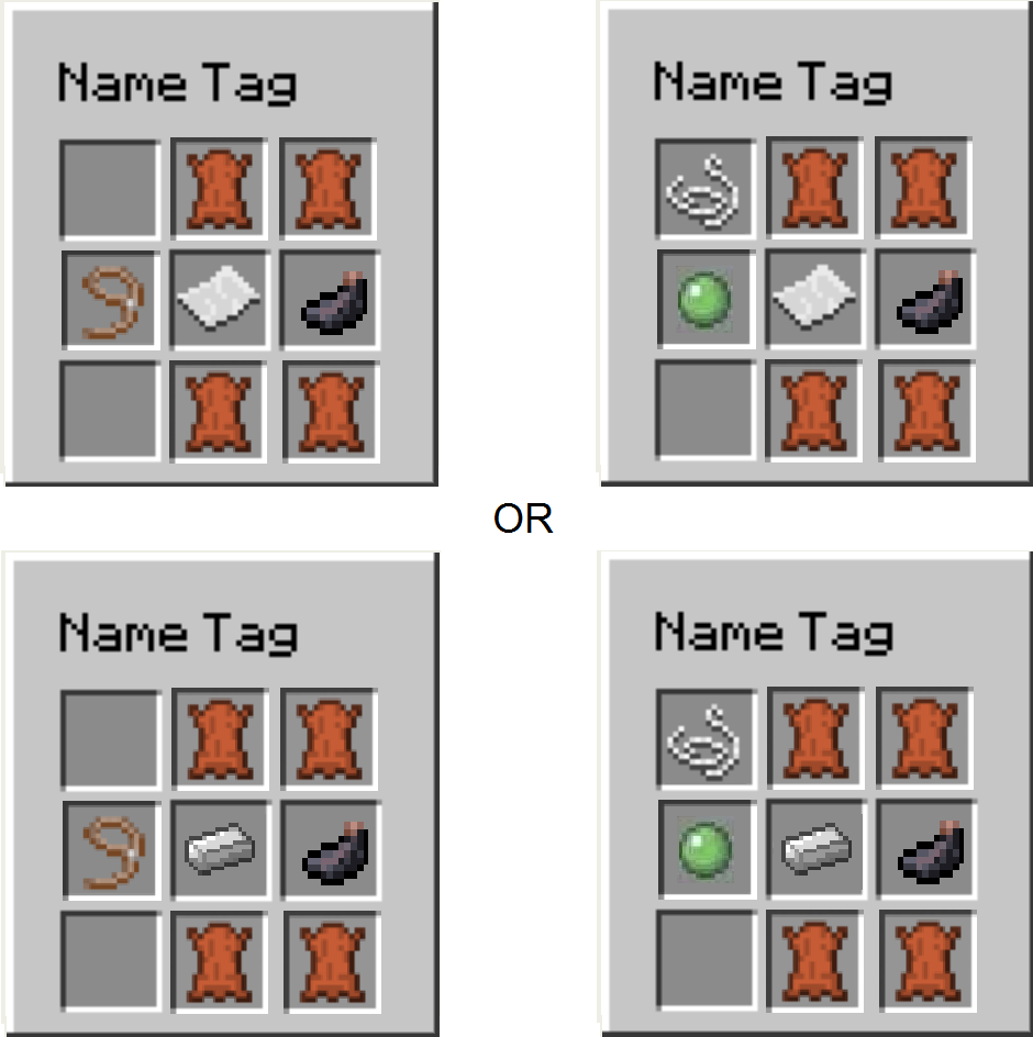 Name Tag Crafting Recipe Suggestions Minecraft Java Edition