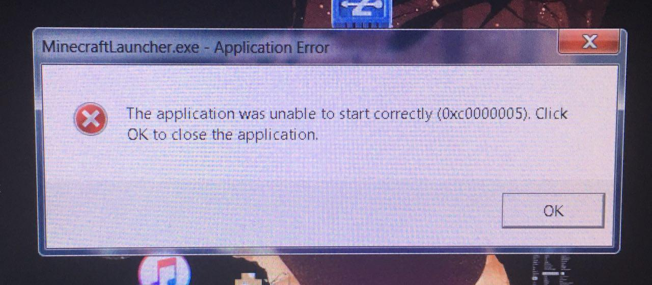 Minecraft Launcher Application Error (0xc0000005) - Java Edition