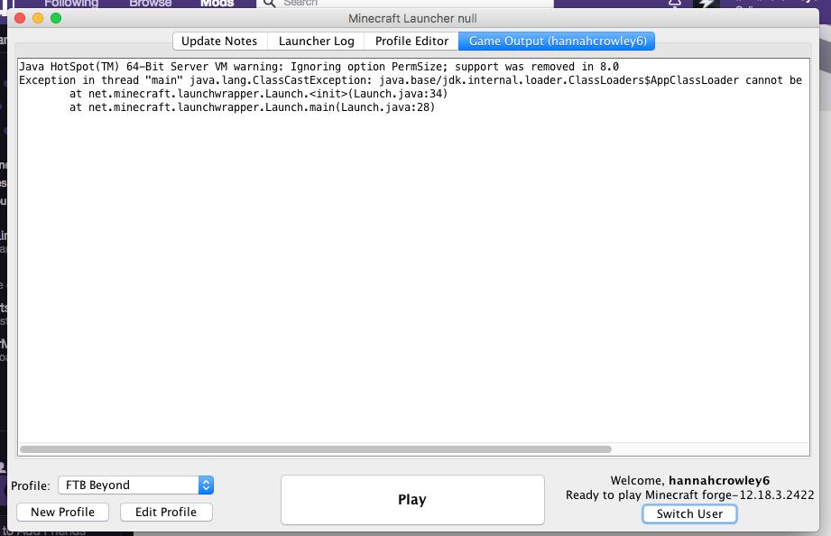 Having trouble opening minecraft through Twitch (Macbook) - Java