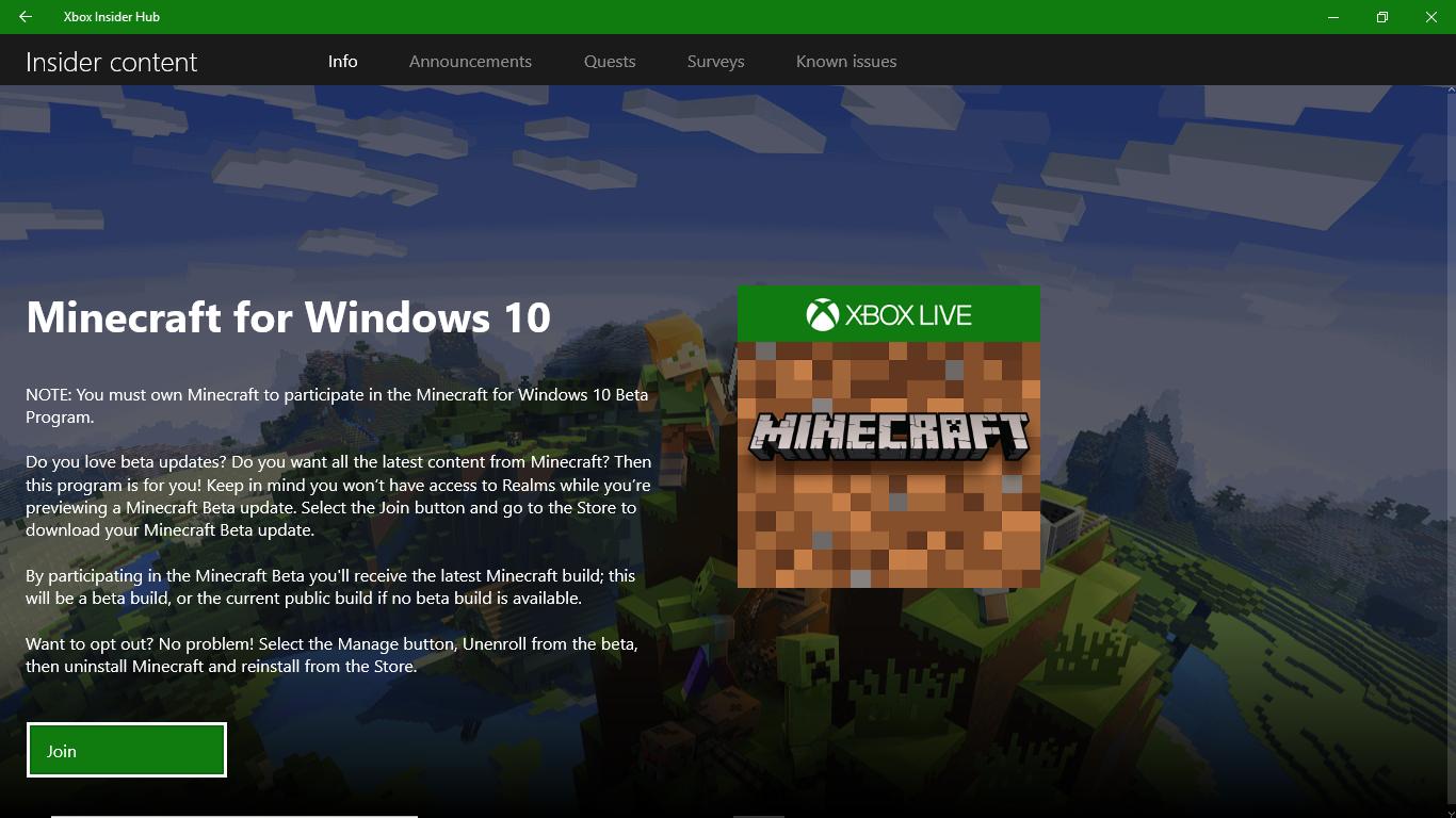 download minecraft for windows 10 xbox