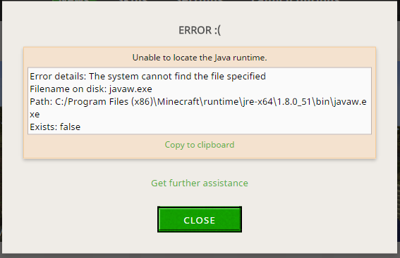 Unable to locate the Java runtime