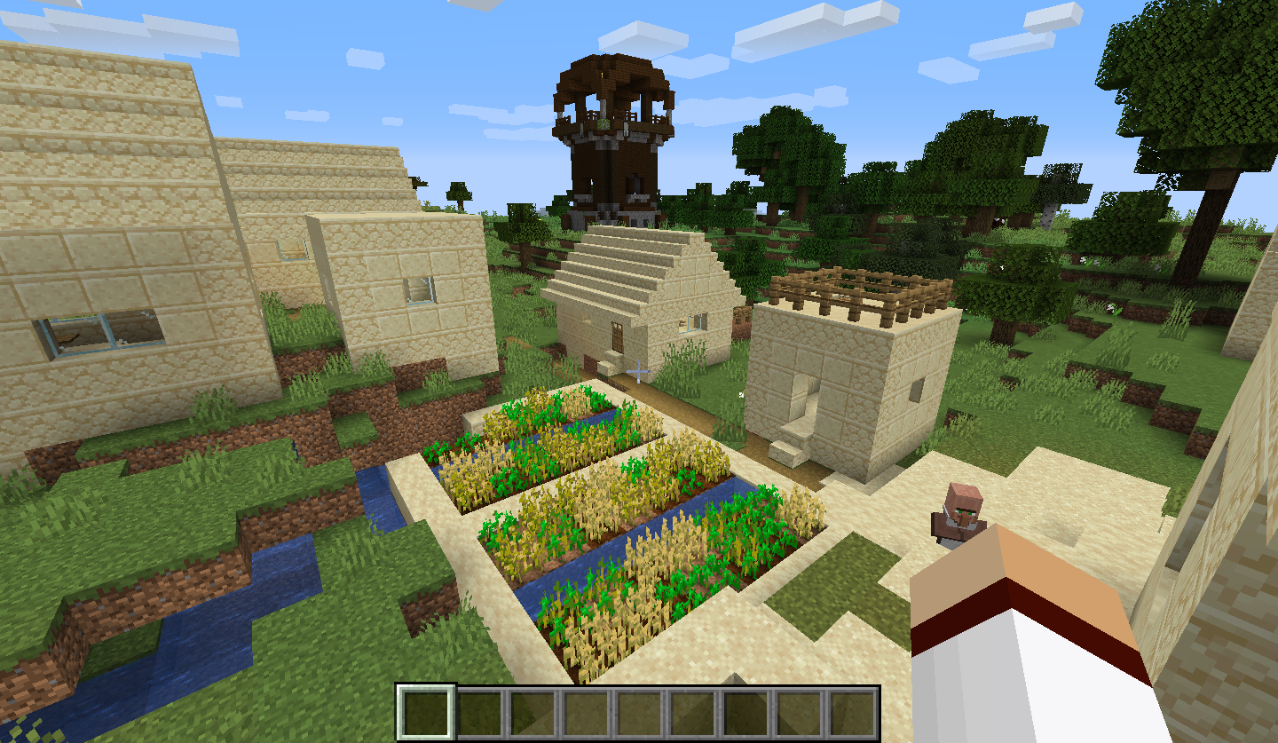 18w48b Seed - New Village and Pillager Tower at Spawn