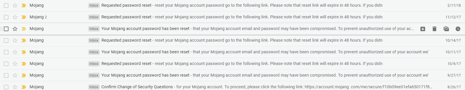 Mojang email and password