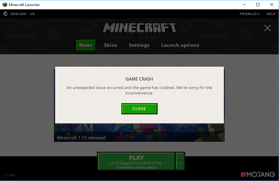 My game keeps crashing when i try to load up forge  - Java