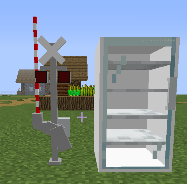 The new railroad crossing gate and store fridge/freezer! In the future I will add stocked up fridges for decorative purposes! I will also be moving the railroad crossing gate model to the center of the block so it will be less awkward in the future :)