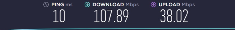 my friend's connection speed (#2) (much better)