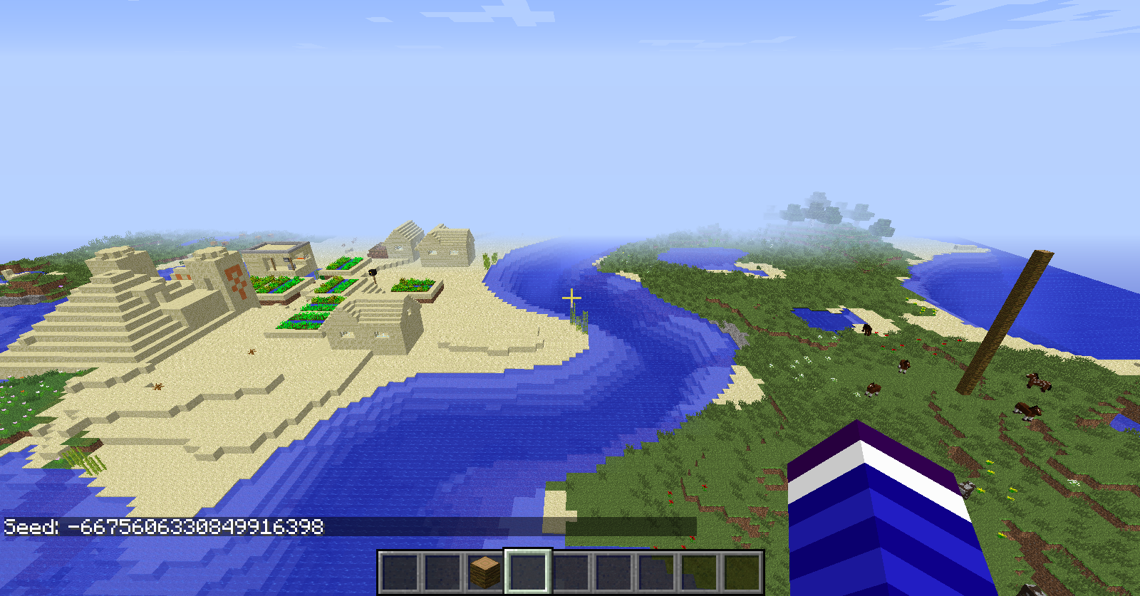 1 7 10, 3 temples and 4 villages, right next to spawn