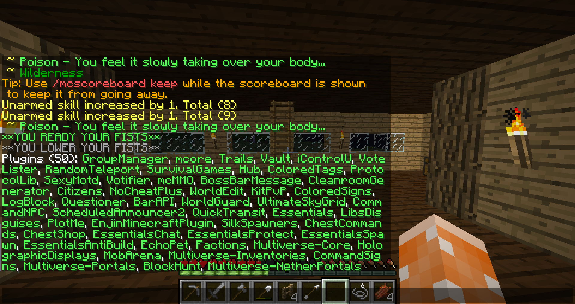 Crashes when I try to kill mobs with a sword - Server