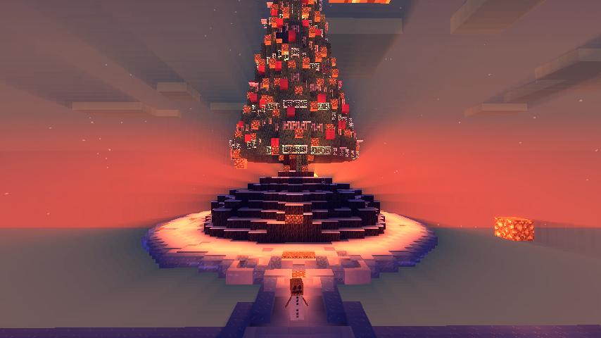 Minecraft Christmas Tree.Beautiful Sun Behind Christmas Tree Screenshots Show