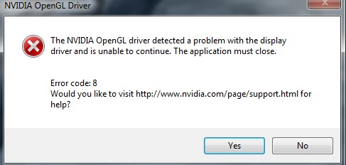 nvidia opengl driver error code 3 windows 10