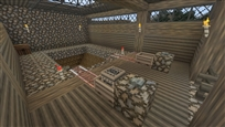Mine shaft with carts that go to bedrock
